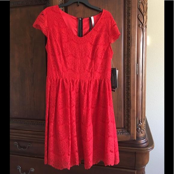 92e27708 Kensie Dresses | Bright Red Lace Dress Size Small | Poshmark